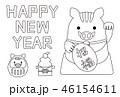 ぬり絵年賀状2019 招き猫風いのしし HAPPY NEW YEAR 46154611