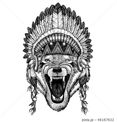 Wild wolf, dog. Animal wearing inidan headdress with feathers. Boho chic style illustration for 46167632