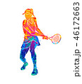 Abstract tennis player with a racket from splash of watercolors 46172663