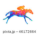 Abstract racing horse with jockey from splash of watercolors. Equestrian sport 46172664
