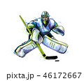 Abstract hockey goalkeeper from splash of watercolors. Hand drawn sketch. Winter sport 46172667