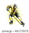 Abstract hockey player from splash of watercolors. Hand drawn sketch. Winter sport 46172670