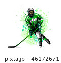 Abstract hockey player from splash of watercolors. Hand drawn sketch. Winter sport 46172671