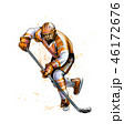 Abstract hockey player from splash of watercolors. Hand drawn sketch. Winter sport 46172676
