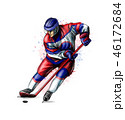 Abstract hockey player from splash of watercolors. Hand drawn sketch. Winter sport 46172684