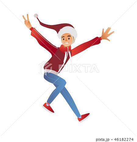 Vector flat sketch man winter clothing fun 46182274