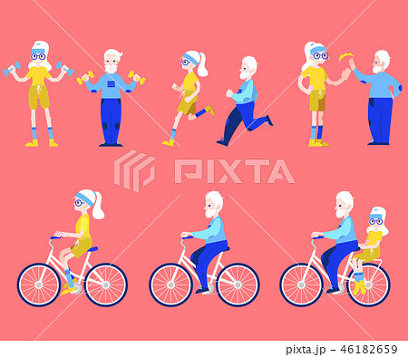 Vector flat elderly man, woman doing sport set 46182659