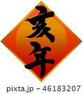 亥年 年賀状素材 筆文字のイラスト 46183207