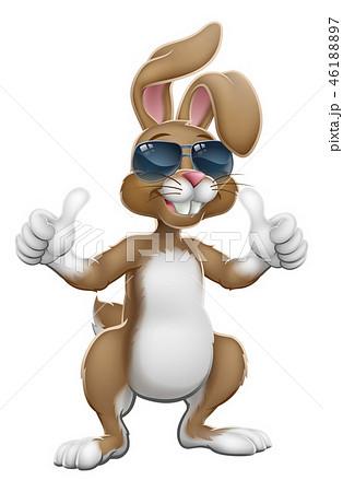 Easter Bunny Cool Rabbit Cartoon Giving Thumbs Up 46188897