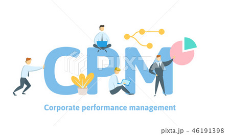 CPM, Corporate Performance Management. Concept with keywords, letters and icons. Flat vector 46191398