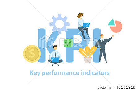 Key Performance Indicators, KPI. Concept with keywords, letters and icons. Flat vector illustration 46191819
