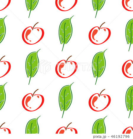Apple fruit leaf vector color seamless pattern. Simplified retro illustration. Wrapping or scrapbook 46192796