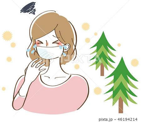 花粉がひどい女性 イラスト 46194214
