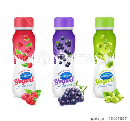 Yogurt Fruit And Berries Icon Set 46195097