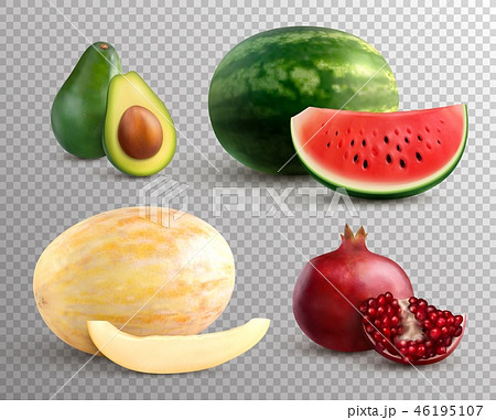 Realistic Fruits Set 46195107