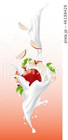 Red falling slices of apple in yogurt flow  46198426