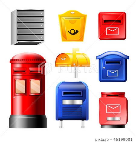 Mail box vector post mailbox or postal mailing letterbox illustration set of postboxes for delivery 46199001