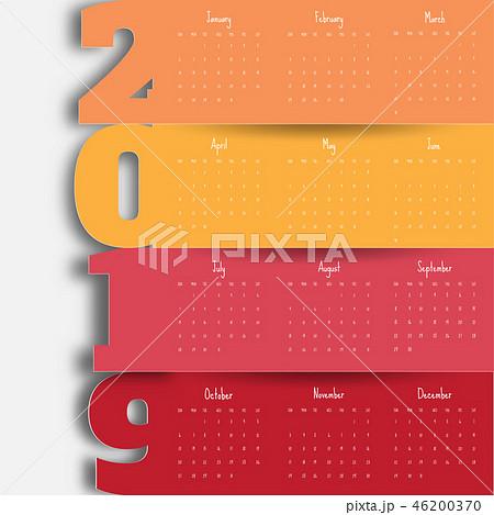 2019 Modern calendar template .Vector/illustration 46200370