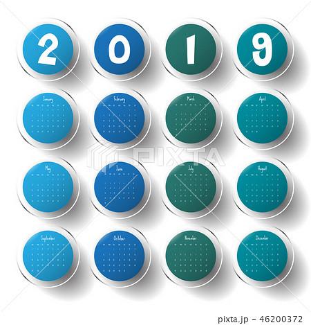 2019 Modern calendar template .Vector/illustration 46200372