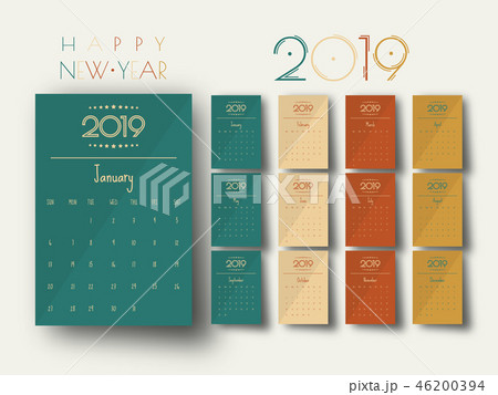 2019 Modern calendar template .Vector/illustration 46200394