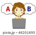女性 パソコン 悩みのイラスト 46201693