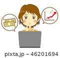 女性 考える パソコンのイラスト 46201694