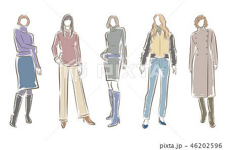 女性のファッションイラストのイラスト素材 [46202596] , PIXTA