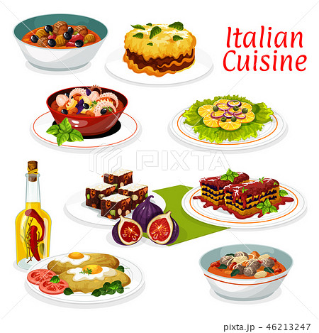 Italian meat and seafood dishes, fruit dessert 46213247
