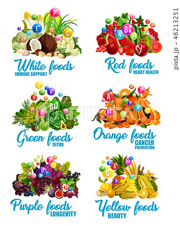 Color food icons of healthy diet nutrition 46213251