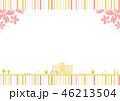 校舎 桜 ストライプ背景 46213504