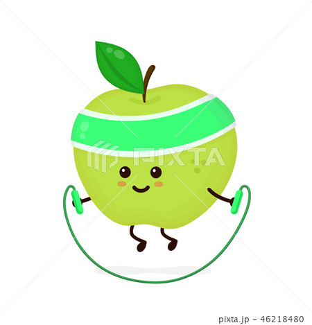 Cute smiling happy strong apple 46218480