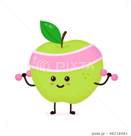 Cute smiling happy strong apple 46218481