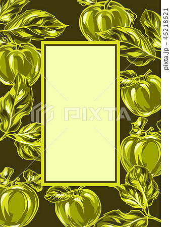 Frame with apples and leaves. 46218621