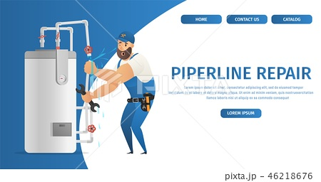 Vector Illustration Concept Page Plumber Service 46218676