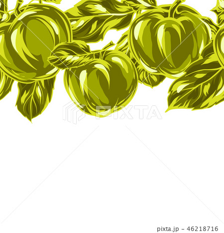 Seamless pattern with apples and leaves. 46218716