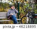 自転車 使う スマホの写真 46218895