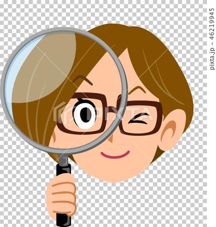 虫眼鏡を構える女性 OL ビジネスウーマン 眼鏡 46219945