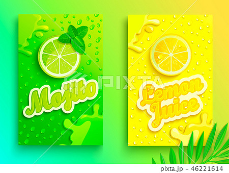 Set of fresh lemon and mojito juices. 46221614