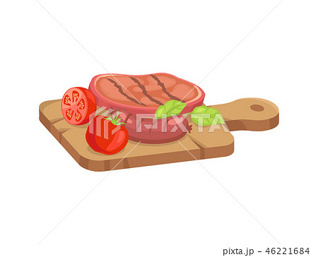 Meat for Barbecue on Cutting Board Cartoon Style 46221684