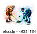 Abstract hockey player from splash of watercolors. Hand drawn sketch. Winter sport 46224564
