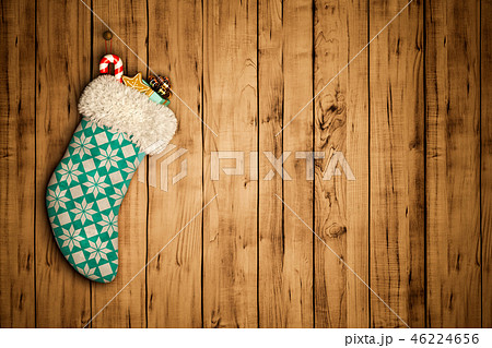 Christmas stocking on old wooden background 3D rendering 46224656