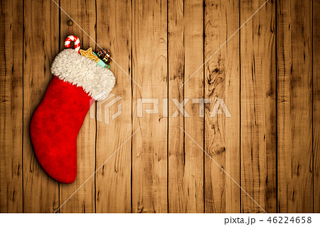 red Christmas stocking on old wooden background 3D rendering 46224658