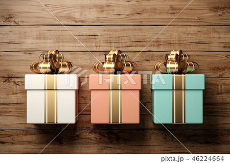 Gift box on the old wooden background 3D rendering 46224664