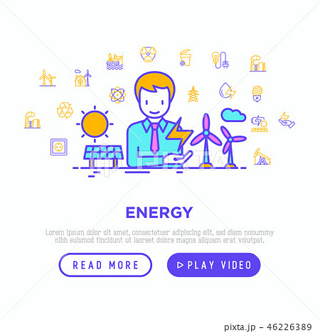 Energy concept with thin line icons 46226389