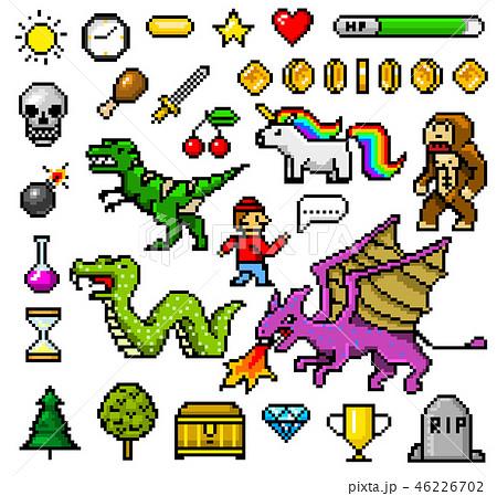 Pixel Art 8 Bit Objects Retro Game Assets Set Á®ã'¤ãƒ©ã'¹ãƒˆç´æ 46226702 Pixta