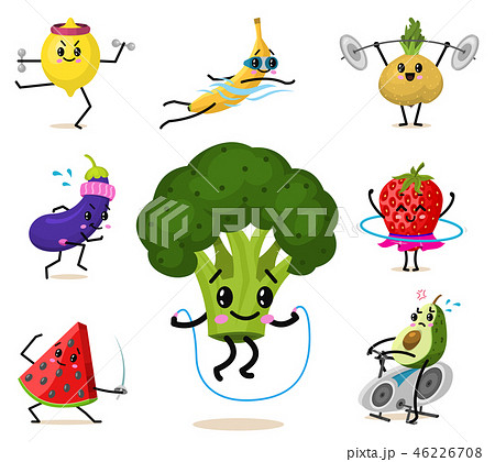 Set of Cute healthy vegetables. Sports fruit characters, funny face berries. Happy food strawberry 46226708