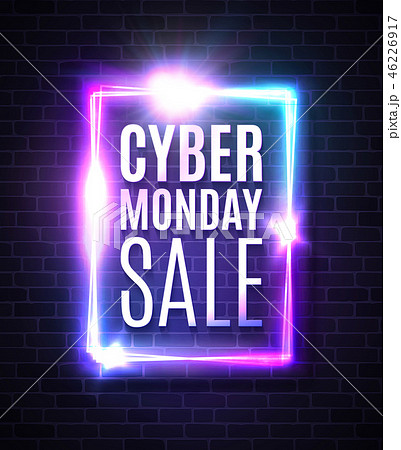 Cyber Monday sale banner in neon laser rectangle background. Shining square sign on dark blue brick 46226917