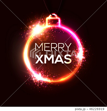 Neon Christmas decoration. Xmas background. Decorative circle light banner. Red Christmas ball or 46226919