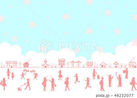 街 人物 桜 シルエット 46232077