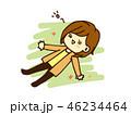 女性 大の字 寝そべるのイラスト 46234464
